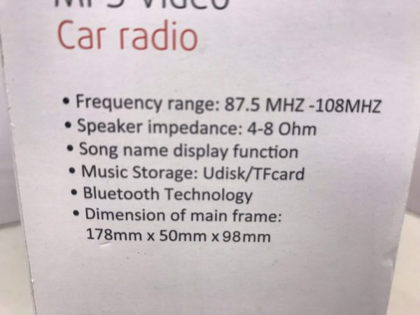 Car Radio Stereo MP3 USB Aux In Bluetooth Large Screen Plays Video Mpeg Xvid Etc