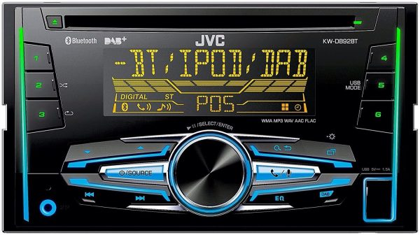JVC Kw-Db92bt Double DIN Car Stereo Dab Radio Bluetooth CD MP3 USB Aux In New