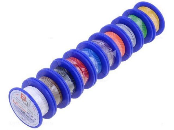Multicoloured Wiring Wire Reels Cable Rolls Professional Set Cu 0.35 Mm Stranded