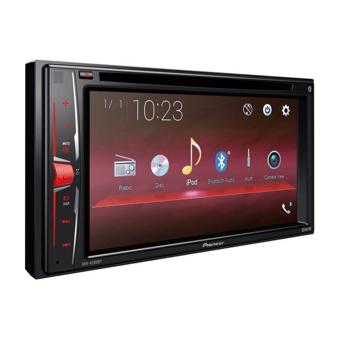 """Pioneer 6.2"""" Touchscreen Bluetooth USB Aux In Video Out Divx iPhone AVH-A200BT"""