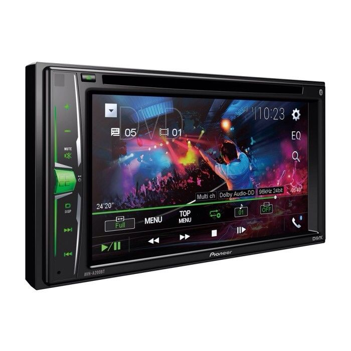 "Pioneer 6.2"" Touchscreen Bluetooth USB Aux In Video Out Divx iPhone AVH-A200BT"