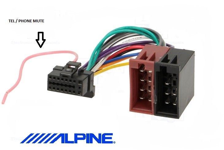 Alpine Cda-9851r cda9851r power connector wiring harness iso loom car radio