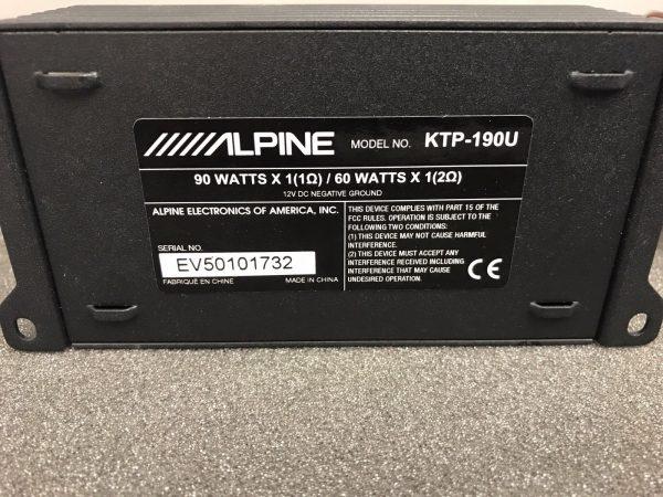 Alpine Ktp-190u Car Radio Stereo External Car Amplifier Mono Amp Power Pack 90w
