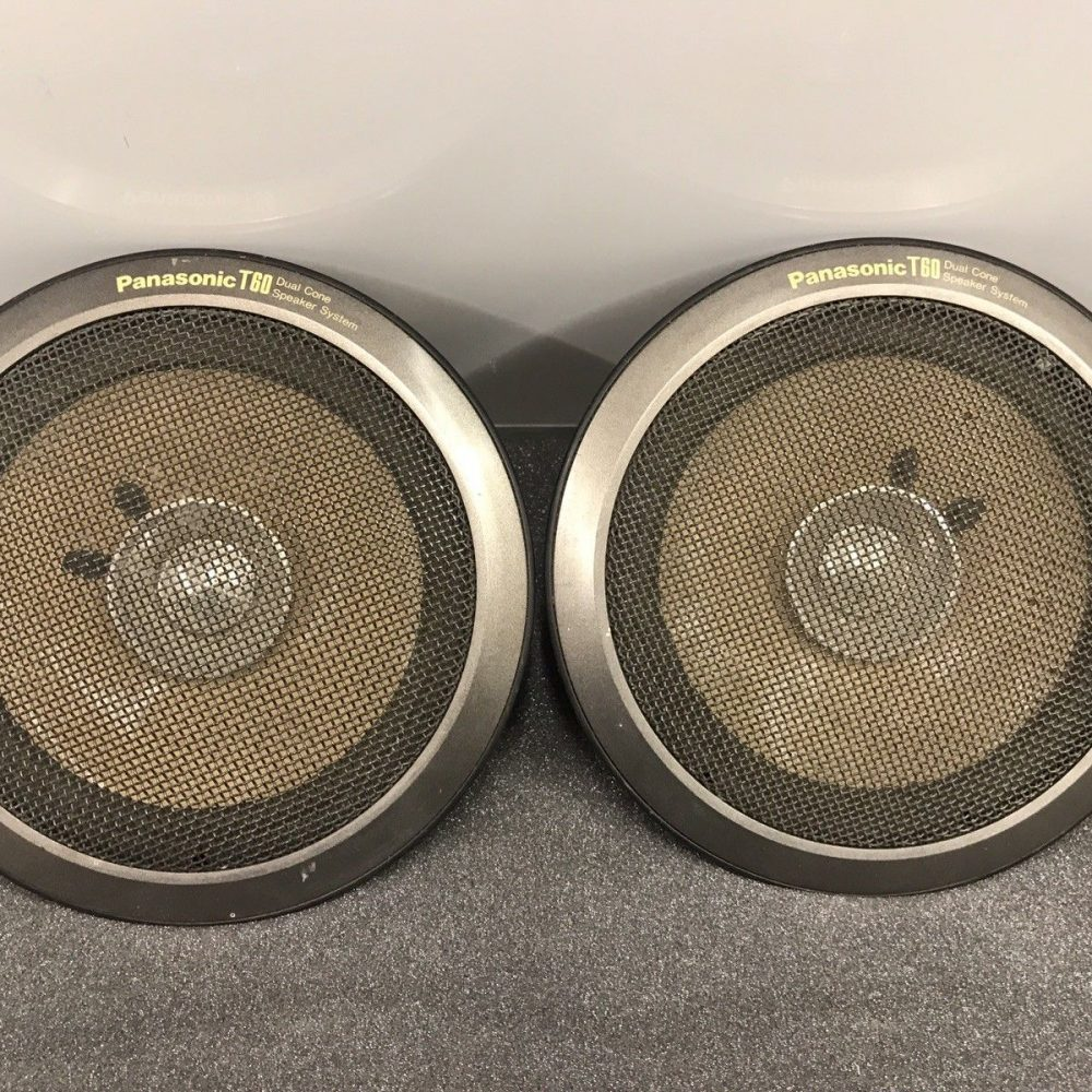 Very Early Panasonic T60 Old Classic Vintage Speakers With Covers Dual Cone