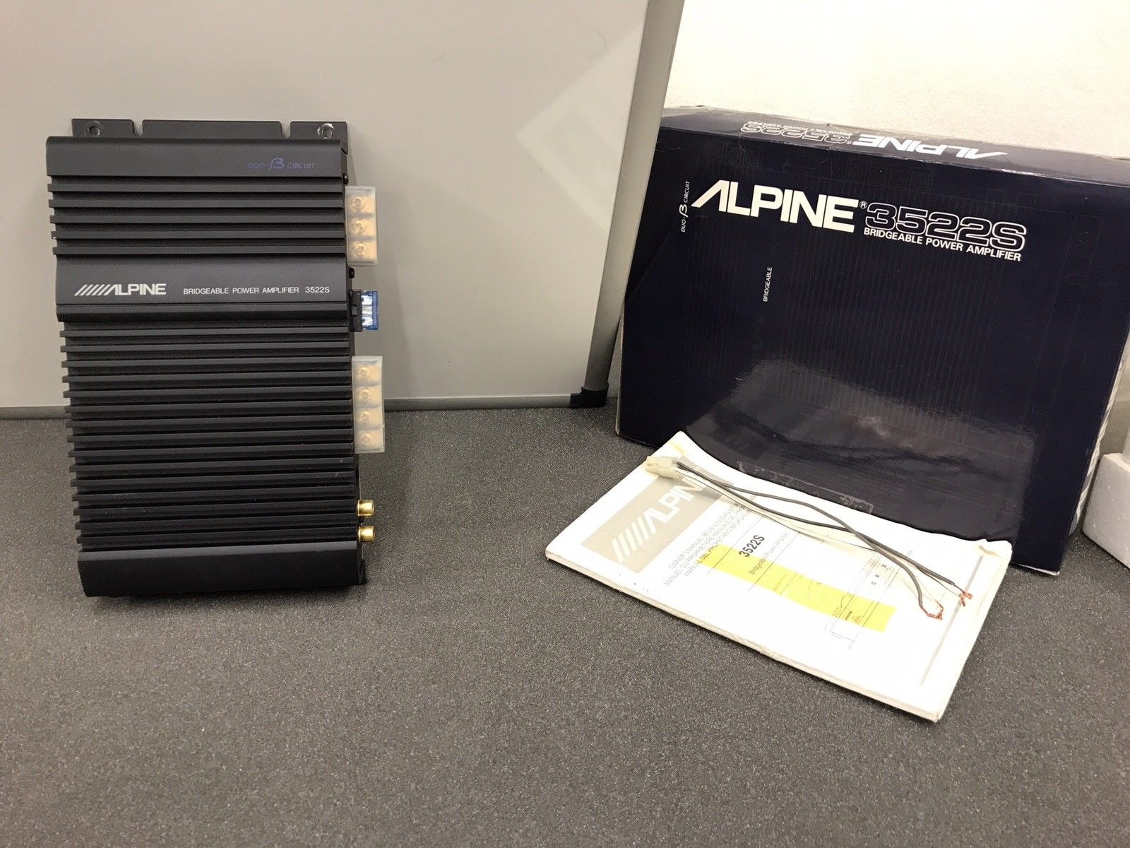 Alpine 3522s Old Classic Vintage Car Add On Amp Amplifier 2 Channel Duo-B Boxed