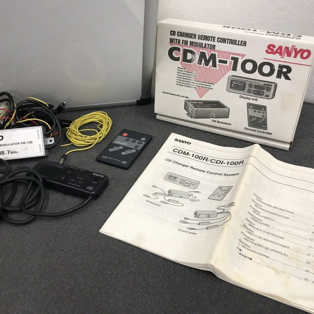 Old Sanyo Cdm-100r Cd Changer Remote Controller With Fm Modulator Kit
