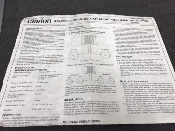 Clarion Apa2030 Old Classic Vintage Car Add On Amp Amplifier 2 Channel Small Amp